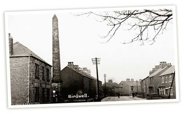 The obelisk at the southern end of Birdwell was constructed in 1775 to mark the three-mile distance to Wentworth Castle at Stainborough. The obelisk was struck by lightening on 6 June 1906 but remains in its place today.