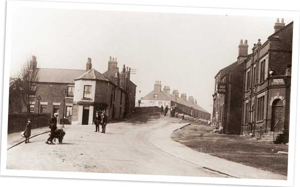 Midland Road, Royston, looking up from the railway bridge.