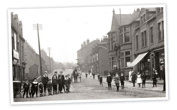 Barnsley Road c1900. The Ardsley Working Men's Club is on the right of the photograph. The houses on the left have all gone.