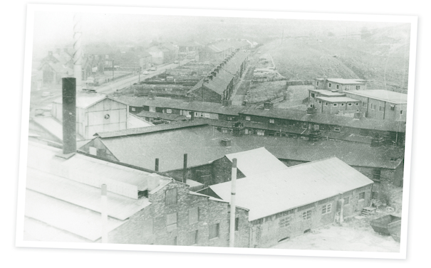View looking over the top of Wood Brothers Glass works at Hoyle Mill. Chris