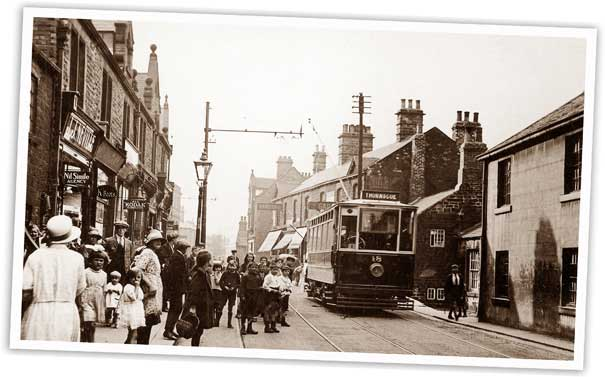 A Dearne Light Railway tram is pictured bound for Thurnscoe in High Street, Wombwell, probably in the late 1920s or early 30s.